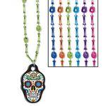 Custom Day Of The Dead Skull & Bone Beads w/ Custom Shaped PVC Medallion