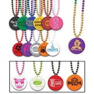 "33"" Print-N-Toss Medallion Beads w/ 1-color Direct Imprinted Medallion"