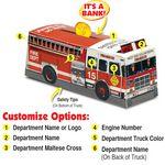 Custom Paper Fire Truck Bank