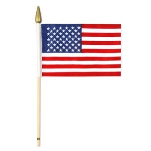 "Rayon American Flags w/ 10 1/2"" Spear Tipped Wooden Dowel"