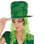 Custom Green Tinsel Top Hat w/ Curly Wig
