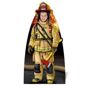 Custom Printed Corrugated Plastic Adult Size Fire Fighter Photo Prop