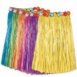 Custom Artificial Grass Hula Skirt Assortment w/ Floral Waistband