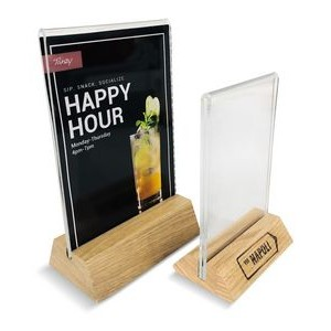 """Hands free"", solid oak menu holder with u-bend acrylic insert"