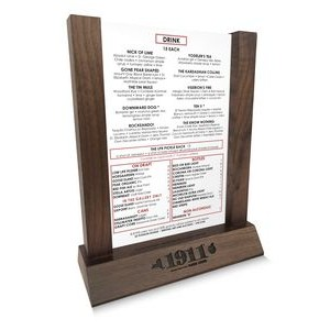 """Hands free"", solid walnut menu holder with 4 X 6 Vertical Insert with Sides"