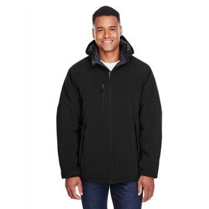 NORTH END Men's Glacier Insulated Three-Layer Fleece Bonded Soft Shell Jacket with Detachable Hood