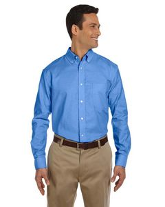 Harriton Mens Long Sleeve Oxford Shirt w/Stain Release