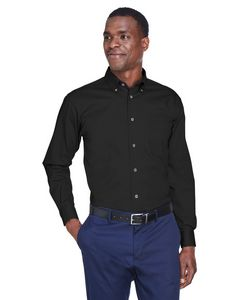 Custom Harriton Men's Easy Blend Long Sleeve Twill Shirt w/Stain Release