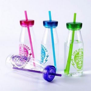 Single Wall Milk Shake Cup With Straw 17OZ Capacity