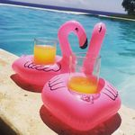 Custom Inflatable Pink Flamingo Floating Coasters Can Holder