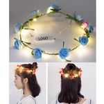 Custom LED Light Up Hawaii Bohemia Style Head Flower Floral Hoop Flower Wreath