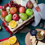 Custom Holiday Fruits, Cheese & More Gift Basket
