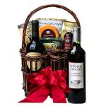 Custom Double Wine Caddy & Gourmet Snack Basket