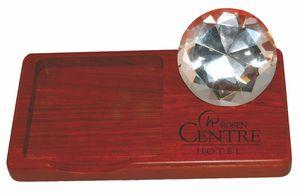Wood Note Holder w/Glass Diamond
