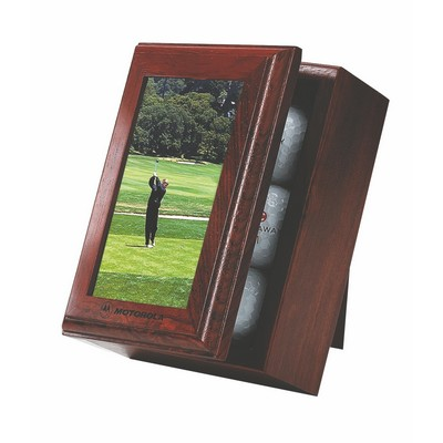 Golf Series Solid Wood Picture Frame Box w/ 6 Golf Ball Capacity