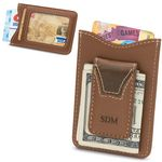 Custom Brown Leather Wallet & Money Clip