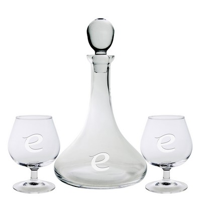 Captain's Decanter and Two Brandy Glasses (3 Piece Set)