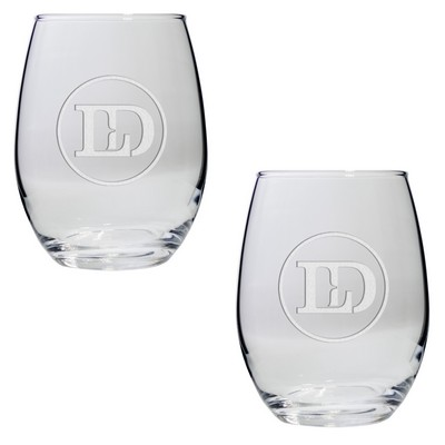 Set of Two Stemless Wine Glasses (15 Oz.)