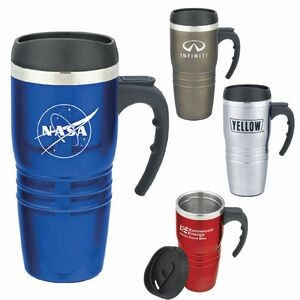 16 Oz. Tribune Stainless Steel Travel Mug w/ Handle