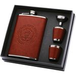 Custom 8 Oz. Leatherette Flask Gift Set