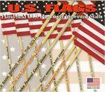 Custom Non Fray Cotton U.S. Flag w/ Gold Tip & 10