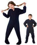 Custom Kids Polyester Micro Polar Fleece Footed Pajamas (Navy)