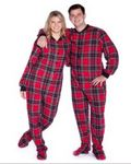 Custom Double Brushed Flannel Plaids Pajamas(Red/Black)