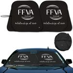 Custom Prest-O-Shade 2 Collapsible Fabric Sunshade / Black Front Silver Back