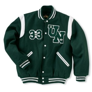 The Winner Custom Wool Varsity Jacket w/1-Color Leather Shoulder Insert & Leather Sleeves