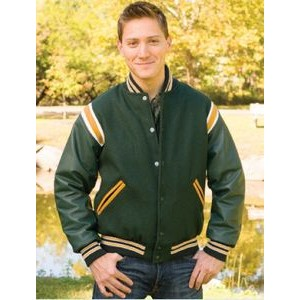 The Favorite Custom Wool Jacket w/1-Color Leather Shoulder Insert/Leather Overlay & Leather Sleeves