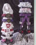 Custom 1 Color Leg Garter w/Bottom lace w/ 1 Color Imprinted Emblem & Ribbon