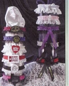 1 Color Leg Garter w/Bottom lace w/ 1 Color Imprinted Emblem & Ribbon