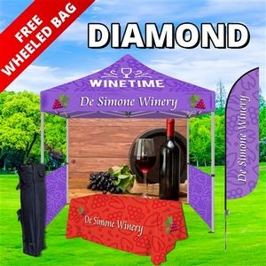 Diamond Event Package - 10' Tent, Table Throw, Flag Banner, Sidewalls, and Backwall