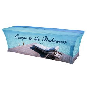 8 x 30 Top x 29H - Stretch Table Throw (Full Color Print)Dye Sublimation