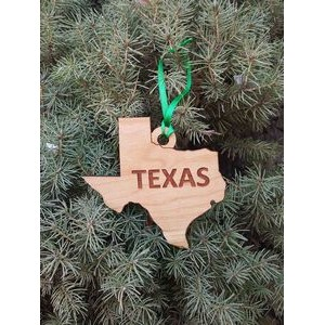 "3.5"" - Texas Engraved Solid Hardwood Ornaments - USA-Made"