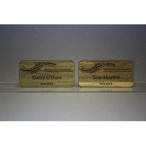 "1.5"" x 3"" - Hardwood Name Tag - Laser Engraved - USA-Made"