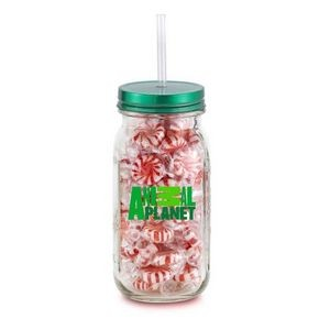 20 oz Mason Jason Vintage Glass Jar filled with Candy
