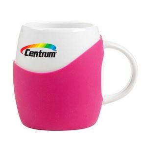 Two 14 Oz. Rotunda Silicone Grip Ceramic Mugs Gift Set