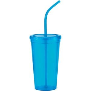 24 Oz. Hydra8 Cup single wall stadium cup with straw & lid