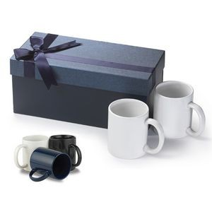 11 Oz. Classic C Handle Ceramic Mugs w/Gift Box (Set of 2)
