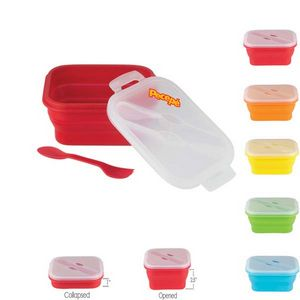 Custom Gourmet Collapsible Silicone Lunch Box Container 5 x 7.5