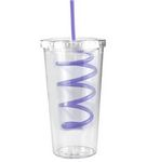 Custom 20 Oz Slurpy Double Wall Clear Tumbler with Crazy Straw