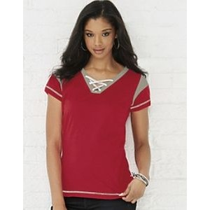 LAT Ladies Fine Jersey Gameday Lace Up Tee