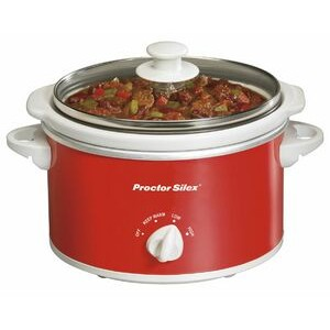 Proctor Silex - SLOW COOKERS - 1.5 QT OVL W LTCH STRP/GSK -RED