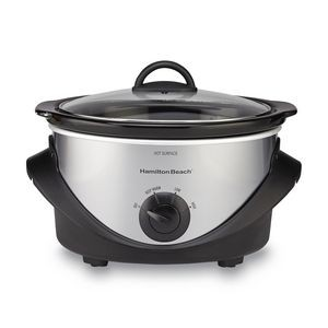Hamilton Beach 4 qt Plastic Base, Black & Chrome - Oval, Slow Cooker