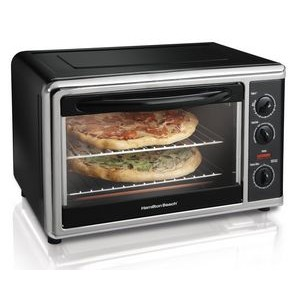 "Hamilton Beach 31100 Electric Oven. CONVECTION OVEN & ROTISSERIE FITS A 9"" X 13"" PAN OR TWO PIZZAS"