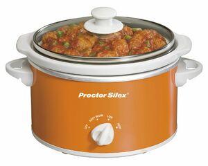 Proctor Silex - SLOW COOKERS - 1.5 QT OVL LTCH STRP/GSK-ORANGE
