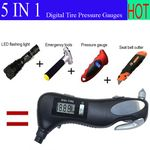Custom Multifunctional 5-in-1 Digital Tire Pressure Gauges / Auto Emergency Tools / Seat Safety Belt Cutter