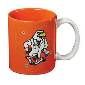 White/Orange C Handle Mug (11 Oz.)