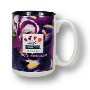 White with Cobalt Blue Interior 2-Tone Grande Mug - 15 oz.